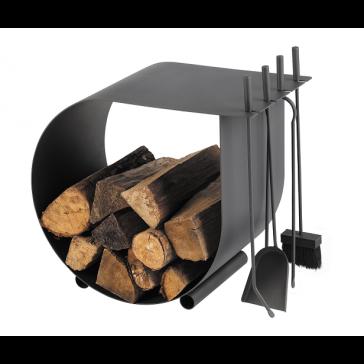 Dixneuf Caracol Log Holder & Firetool Set in black