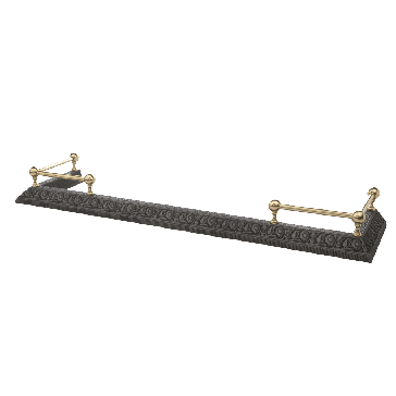 Stovac Black Cast Iron and Brass Floral Fender