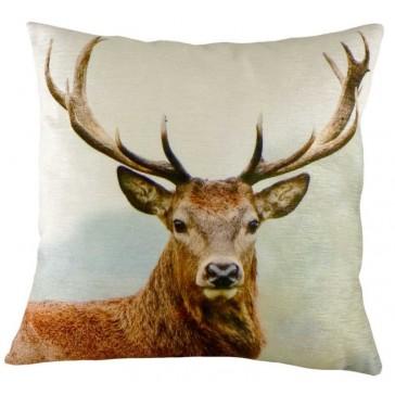 Stag's head velvet cushion - 43cm