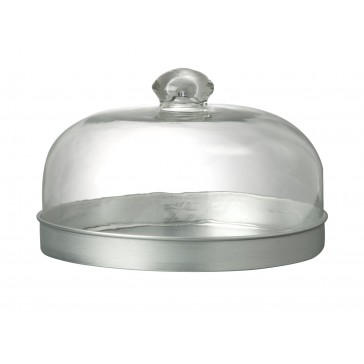 Domed Glass Food Cover & Metal Tray