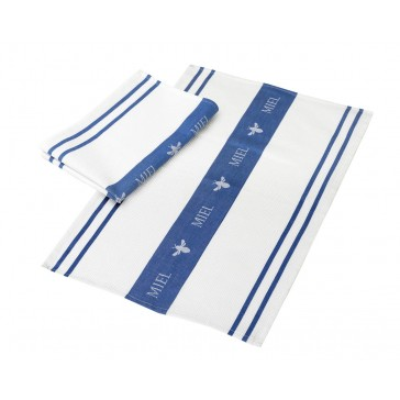 Miel Waffle Tea Towel in White & Blue