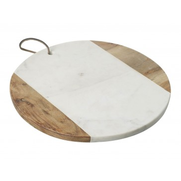 White Marble & Wood Round Cutting Board