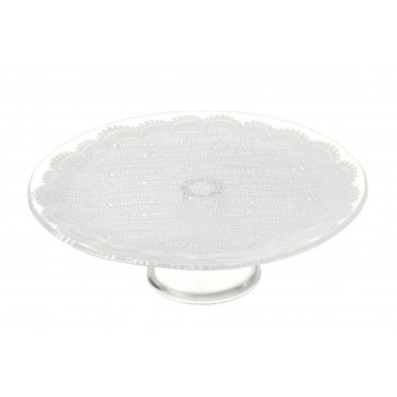 Lace Glass Cake Stand (Medium) | Clear Glass / White