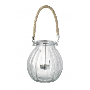 Glass Tea Light Holder with Rope
