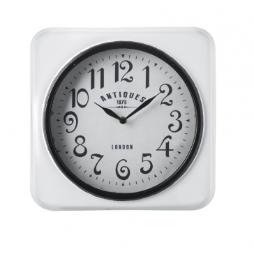 Parlane Antiques white metal wall clock