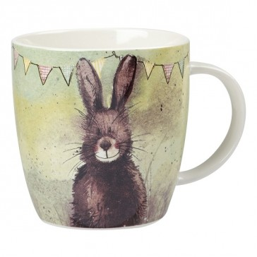 Bunting Hare China Mug by Alex Clark