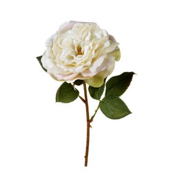 Rose tea velvet flower stem in off white & soft cream