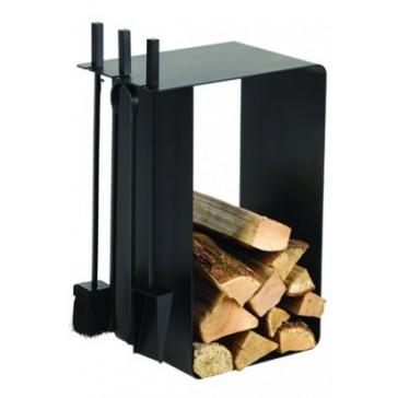 Dixneuf Artigo Log Holder & Firetool Set in black