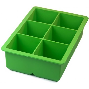 """Green Silicone Ice Cube Tray - 6 rectangular 2"""" cubes"""