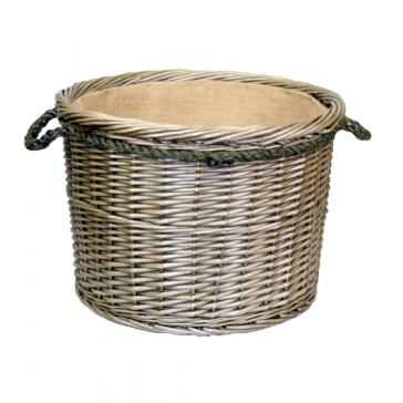 Antique wash large round log basket with rope handles