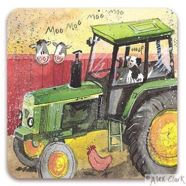Green Tractor Drinks Coaster by Alex Clark