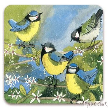Assorted tits drinks coaster by Alex Clark