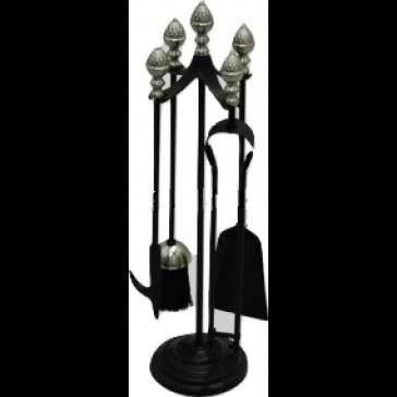 Black & Satin Nickel Acorn Top Companion Set
