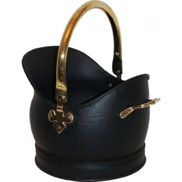 Black & Solid Brass Kenley Medium Coal Bucket