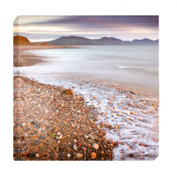 Calming Swell Canvas Print by Mike Shepherd (with stone fragments with glitter and resin embellishment)