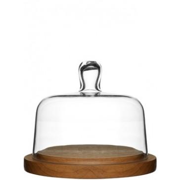 Glass Domed Oak Cheese Board