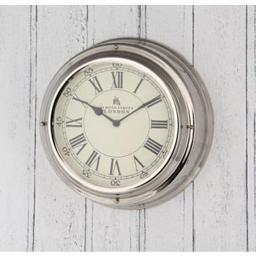 Nickel Bond Street Wall Clock - London