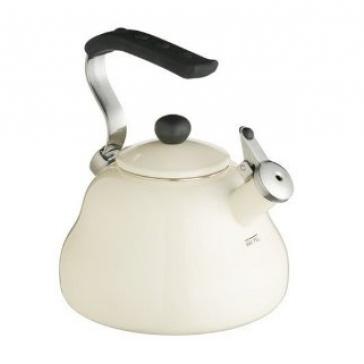 Cream viterous enamelled whistling kettle - 2 litre capacity