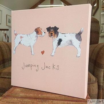Alex Clark Jumping Jacks canvas print - Jack Russell