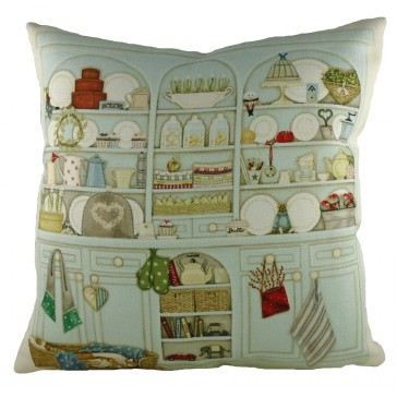Traditional dresser print cushion by Sally Swanell