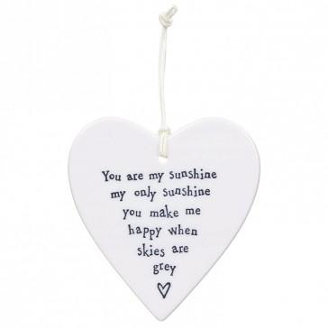 Porcelain Heart Coaster - You Are My Sunshine