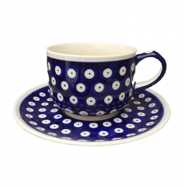 Hand Painted Polish Pottery Frogeye Cup & Saucer