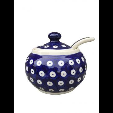 Polish Pottery Frogeye Sugar Bowl with Lid