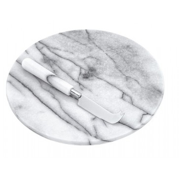 Round White Marble Cheese Board and Knife Gift Set