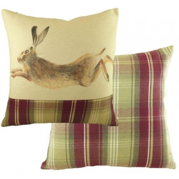 Hand Painted Hare Cushion - Square