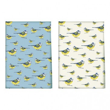 Into The Wild Blue Tit Pack Of 2 100% Cotton Tea Towels by Creative Tops