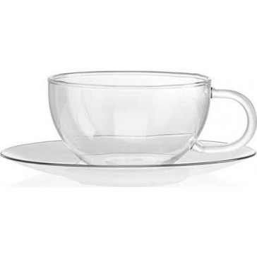 La Cafetiere Glass Jumbo Cup N Saucer