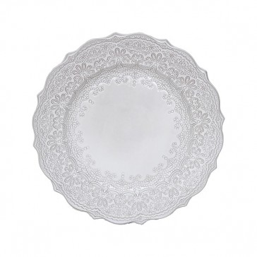 Lace Embossed Terracotta Dinner Plate with Grey Glaze Finish by Creative Tops
