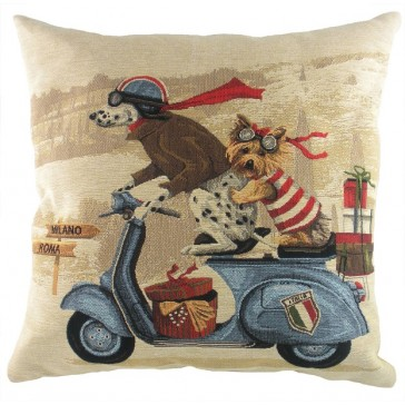 Scooter dogs blue cushion - 18""