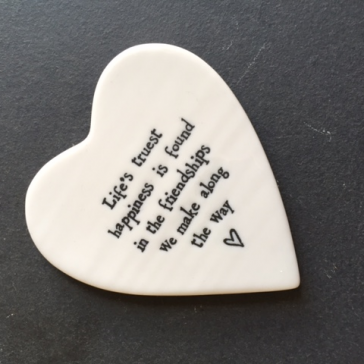 Life's Truest Happiness Porcelain Heart Coaster