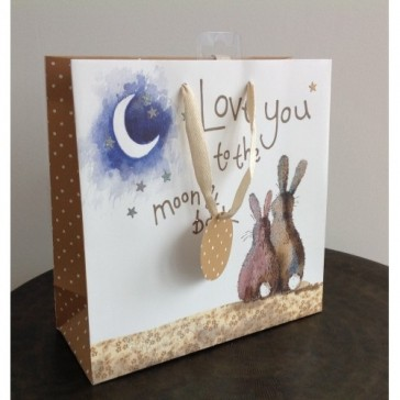 Love You To The Moon And Back Medium Gift Bag by Alex Clark