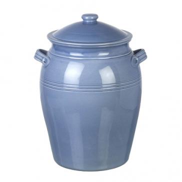 Miel Bread crock in light blue. Handmade & hand painted Portuguese Ceramics