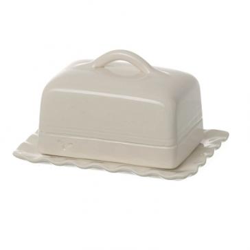 Miel butter dish in cream ceramic. Handmade & painted Portuguese ceramics