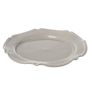 Miel ceramic large platter dish in light grey, handmade & hand painted in Portugal