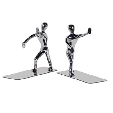 Pair of SilverColoured Stick Men Bookends