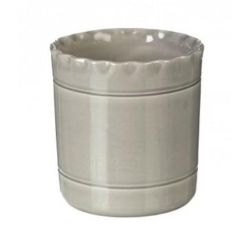 Miel Ceramic Utensil Pot in grey - handmade in Portugal - 140mm x 140mm