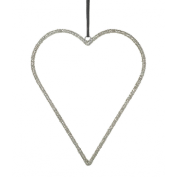 Silver Hanging Heart with Beads