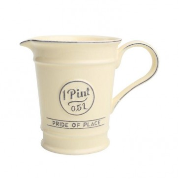 Ceramic pint jug in old cream - Pride of Place - 500ml capacity