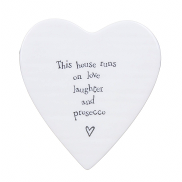 Laughter and prosecco porcelain heart coaster
