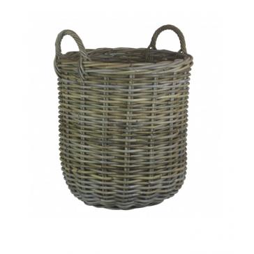 Medium Tall Round Fireside Log Basket in Grey Rattan