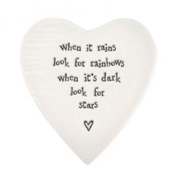 Porcelain Heart Coaster -  When it Rains look for Rainbows