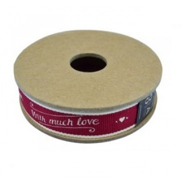 With Much Love Fabric Ribbon - 3 Meter Coil