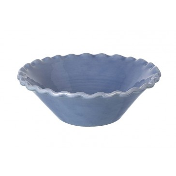 Miel handmade salad bowl in Light Blue with fluted rim