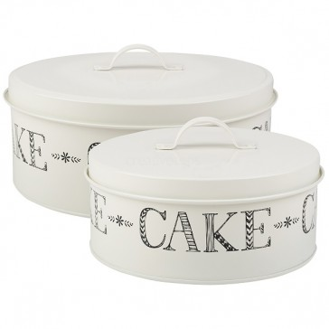 Set Of 2 White Cake Tins by Creative Tops.