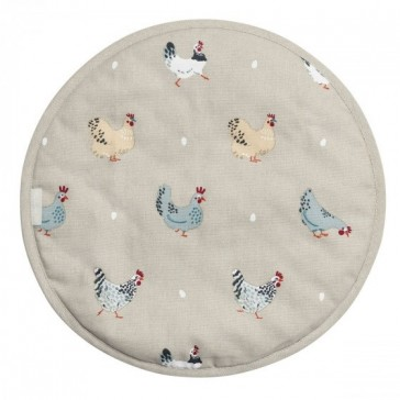Lay A Little Egg Hen Round Hob Cover by Sophie Allport