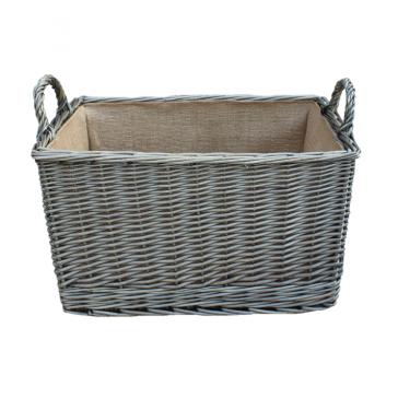 Large Antique Wash Rectangular Log Basket